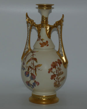 Royal Worcester Blush Ivory hand painted floral vase with reticulated handles