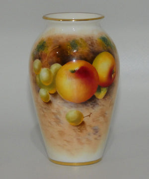 Royal Worcester hand painted Fruit tapering shape miniature vase (Roberts)