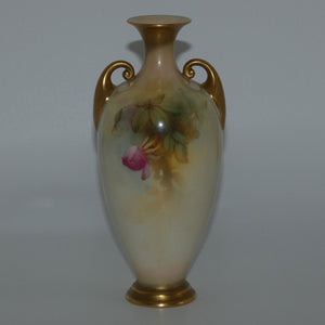 Royal Worcester hand painted roses vase with handles (Sedgley)