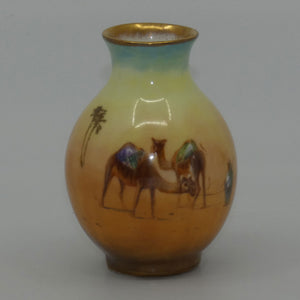 Royal Doulton hand painted & gilt Middle East Desert Scenes miniature vase (Allen)