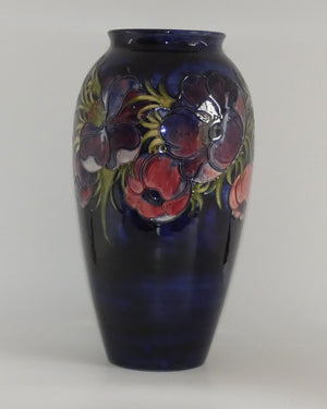 Walter Moorcroft Anemone (Blue) very tall cylinder vase