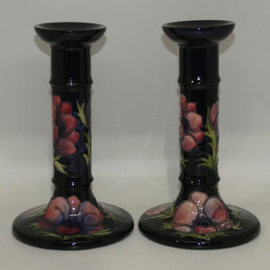 Moorcroft Anemone (Blue) pair of tall candlesticks c.1991