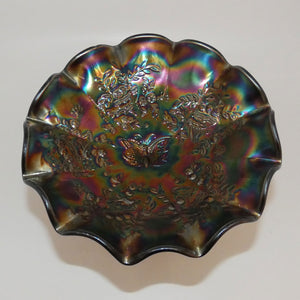 Australian Carnival Glass Dark Butterfly large comport