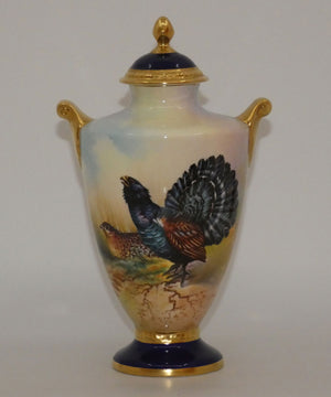 Aynsley Fine Art Collection Handpainted lidded Vase depicting the Capercaillie by J Shaw