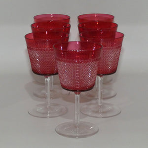Baccarat France set 7 exquisitely facetted Ruby to Clear crystal glasses