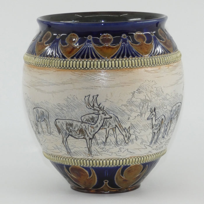 Doulton Lambeth Hannah Barlow stoneware jardiniere with deers and stags