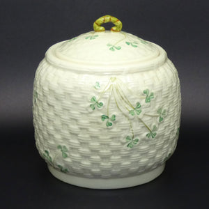 Belleek Shamrock lidded biscuit barrel