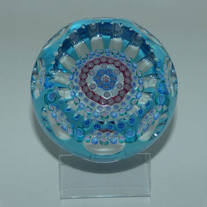 John Deacons Scotland Blue Flash Overlay Millefiori Concentric Magnum paperweight