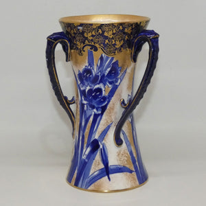 Royal Doulton Blue Iris tri handle Art Nouveau vase