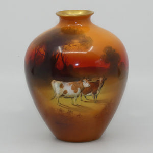 Royal Doulton hand painted and gilt Cattle bulbous vase (Brown)