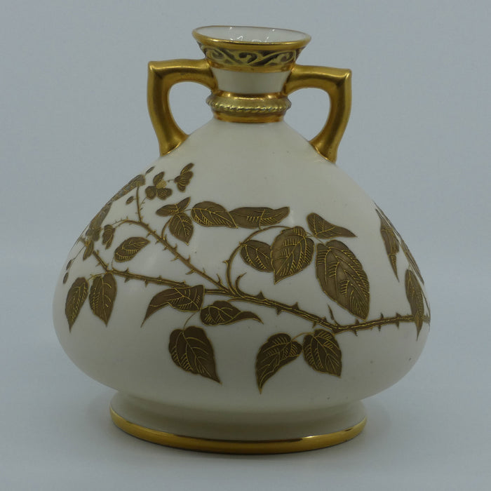 Royal Worcester Blush Ivory hand painted bulbous gilt vase