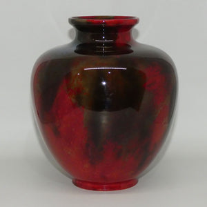 Royal Doulton Flambe mottled bulbous vase (Noke & Moore; #1)