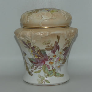 Doulton Burslem Blush Ivory and Floral Lidded Biscuit Barrel