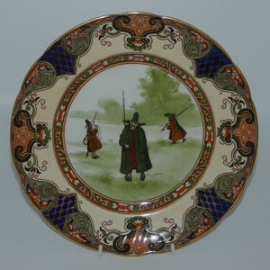 Doulton Burslem Izaak Walton Gallant Fishers Jedo border plate D2420 (#2 Green Coat)
