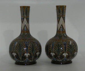 Doulton Lambeth elaborately decorated pair of vases Frank Butler c.1877
