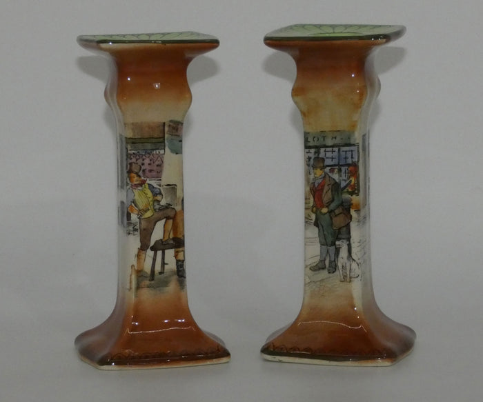 Royal Doulton Dickens Sam Weller and Bill Sykes Pelican pair of candlesticks D2973