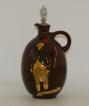 Royal Doulton Kingsware DEWARS flask Captain Phillip with matching stopper
