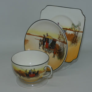 Royal Doulton Coaching Days Cecil shape trio E3804 (Square Plate)