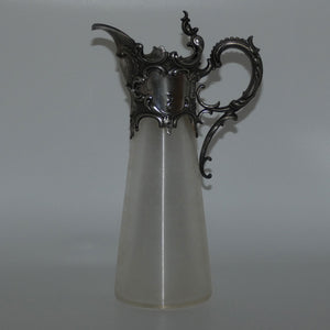 Late Victorian Brittania metal mounted threaded glass claret jug