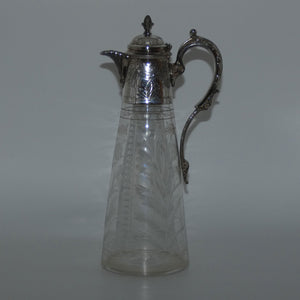 Late Victorian narrow etched claret jug with plated mounts