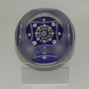 John Deacons Scotland Clichy Square Facetted and Sandblasted Magnum paperweight (Blue)