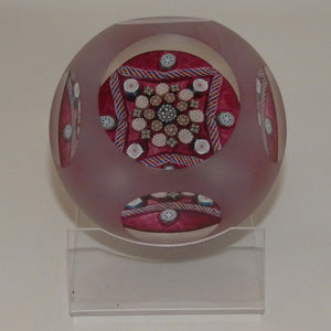 John Deacons Scotland Clichy Square Facetted and Sandblasted Magnum paperweight (Ruby)