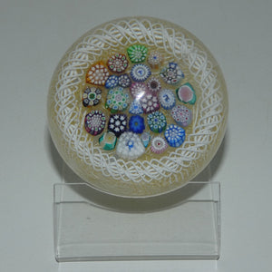 John Deacons Scotland Closepack Millefiori Torsade on Cream Medium paperweight