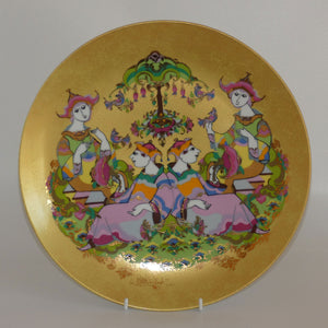 Rosenthal Bjorn Wiinblad heavily gilt & very colourful 2 couples wall plate