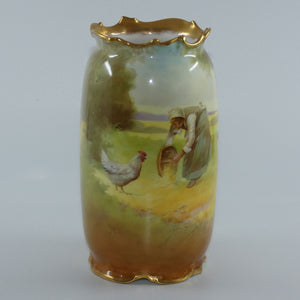 Royal Doulton hand painted & gilt Farm girl feeding hens and rooster scene vase (Curnock)