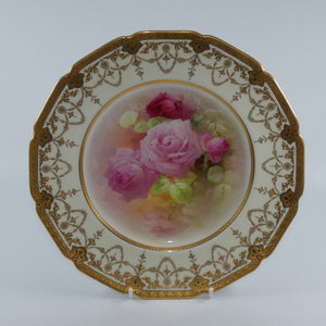 Royal Doulton hand painted & heavily gilt Roses plate (Curnock)
