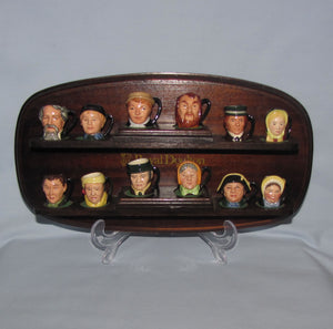 D6676-6687 Royal Doulton tiny character jug Charles Dickens Commemorative set & stand