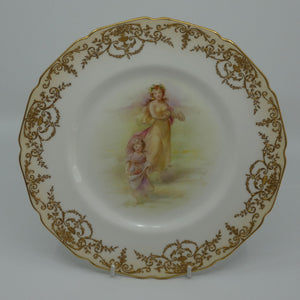 Royal Doulton hand painted and gilt Young Maiden and Child with fruit plate (Dix)