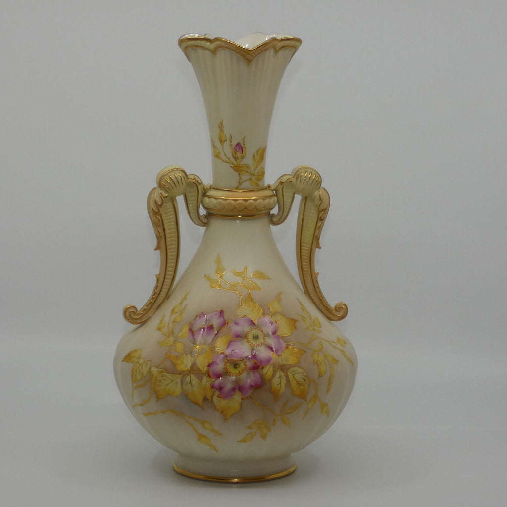 Royal Worcester Blush Ivory hand painted and gilt handled vase depicting Dogwood Roses