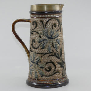Doulton Lambeth Louisa E Edwards stoneware ale jug with applied beads and incised foliage