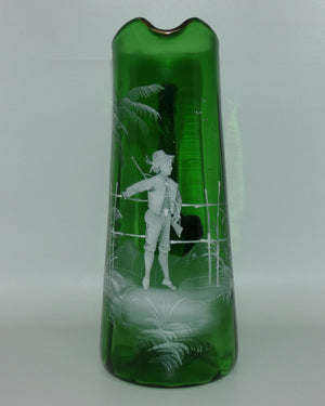 Mary Gregory Glass Emerald Green jug Man with Rifle
