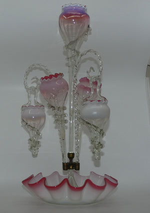 Victorian Cranberry Opalescent glass epergne with 3 trumpets, 2 hanging baskets and canes