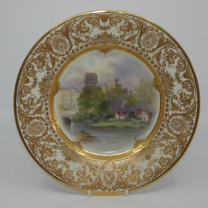 Royal Doulton hand painted & gilt Warwick Castle plate (Evans)