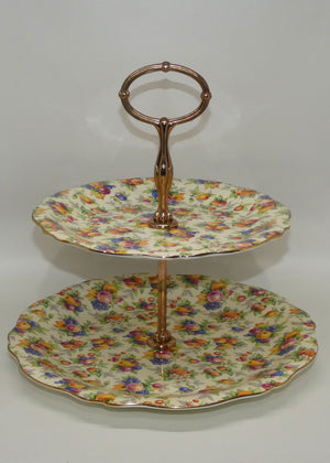 Royal Winton Evesham Chintz two tier cake stand