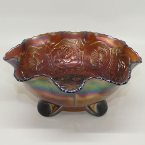 Fenton Plum Carnival Glass tri footed bowl Dragon and Rose