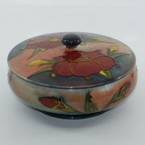 Walter Moorcroft Flambe Freesia large lidded powder bowl