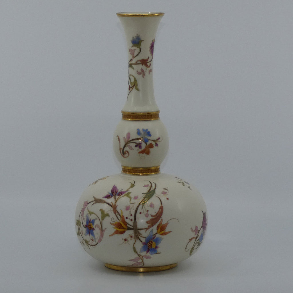 Royal Worcester Blush Ivory and gilt hand painted floral tall gourd shape bulbous vase