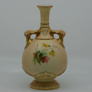 Royal Worcester Blush Ivory hand painted four petal yellow and pink flowers bulbous handled vase