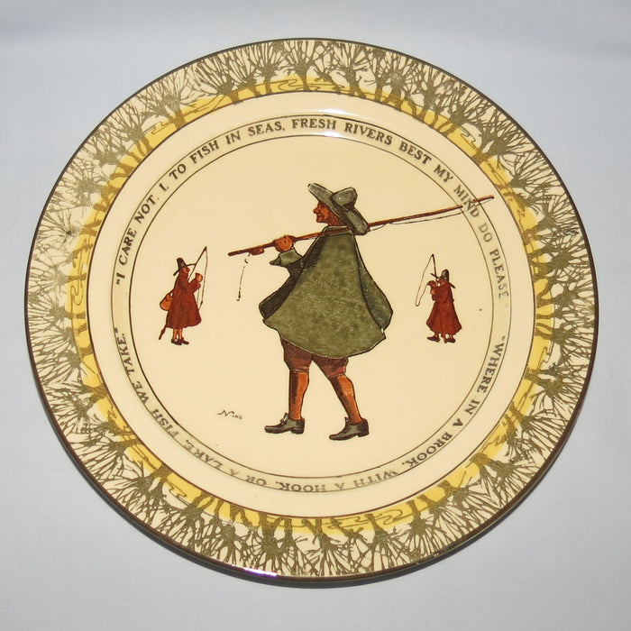 Royal Doulton Izaak Walton Gallant Fishers rack plate D2312: I care not/Where in a brook