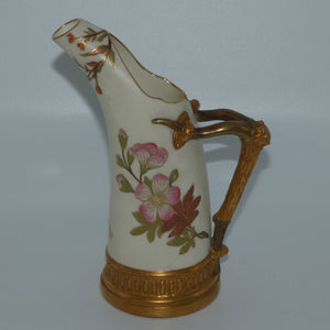 Royal Worcester Blush Ivory hand painted and gilt horn handle jug (Smaller, Dogwood Rose)