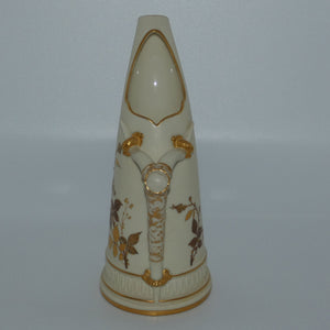 Royal Worcester Blush Ivory hand painted and gilt horn handle jug