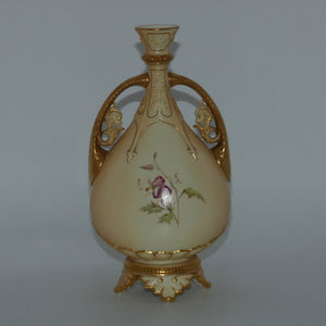 Royal Worcester Blush Ivory hand painted and gilt twin handle Roses vase