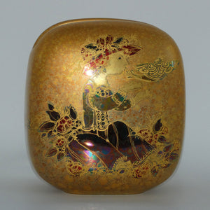 Rosenthal Bjorn Wiinblad Scheherazade with bird heavily gilt flat square letterbox vase