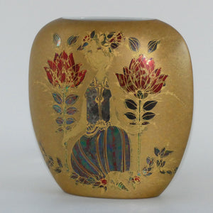 Rosenthal Bjorn Wiinblad Scheherazade with flowers heavily gilt flat ovoid vase