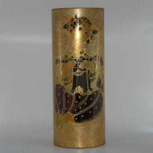 Rosenthal Bjorn Wiinblad Scheherazade with birds heavily gilt very tall cylindrical vase