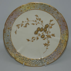 Grainger and Co Royal Worcester Blush Gilt Reticulated plate #1